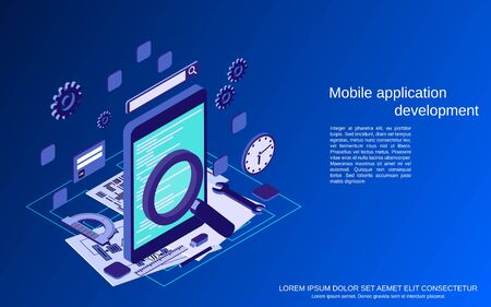 Mobile application development, program coding flat 3d isometric vector concept illustration Ilustração