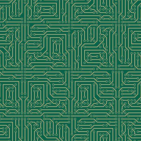 Digital circuit seamless vector pattern Ilustración de vector