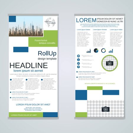 Modern geometric roll-up business banners, two-sided flyer vector design template