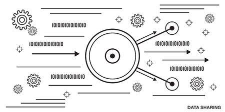 Data sharing thin line art style vector illustration Vektoros illusztráció
