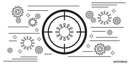 Antivirus thin line art style vector illustration