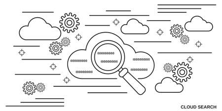 Cloud search thin line art style vector illustration