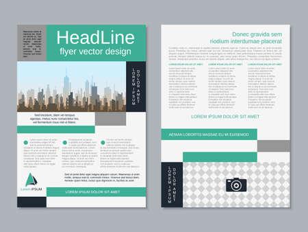 Modern business two-sided flyer, booklet, brochure cover vector design template. A4 format Ilustración de vector