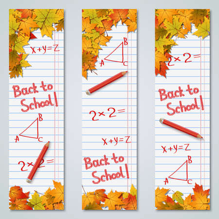 Back to school autumn style vertical banners vector design collection
