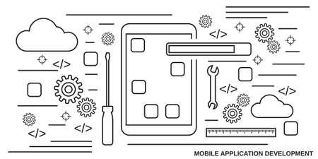 Mobile application development thin line art style vector concept illustration Vektoros illusztráció