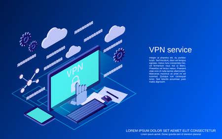 VPN service flat 3d isometric vector concept illustration