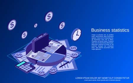 Business statistics, financial report flat isometric vector concept illustration Vetores