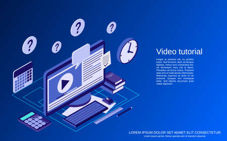 Video tutorial, e-learning, online education, user guide flat isometric vector concept illustration