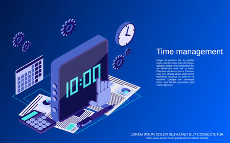 Time management, business planning flat isometric vector concept illustration