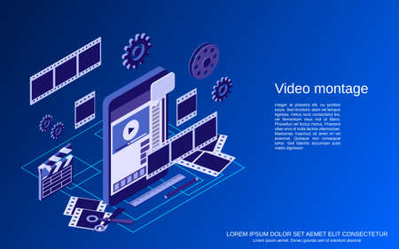 Mobile video production, editing, montage flat 3d isometric vector concept illustration