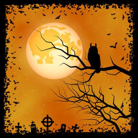 Halloween scary night vector background. Dead tree, graveyard and owl illustration Illusztráció