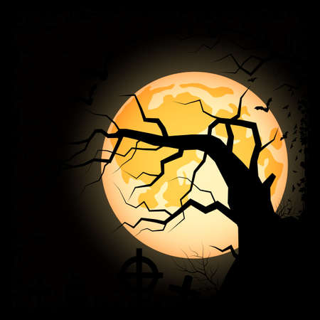 Halloween scary night vector background. Dead tree, graveyard and bats illustration