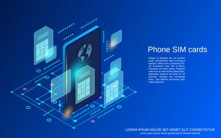 Mobile phone SIM cards flat isometric vector concept illustration Vektorové ilustrace
