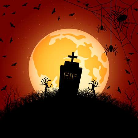 Halloween orange scary night vector background. Dead tree, old cemetery and bats illustration Vettoriali