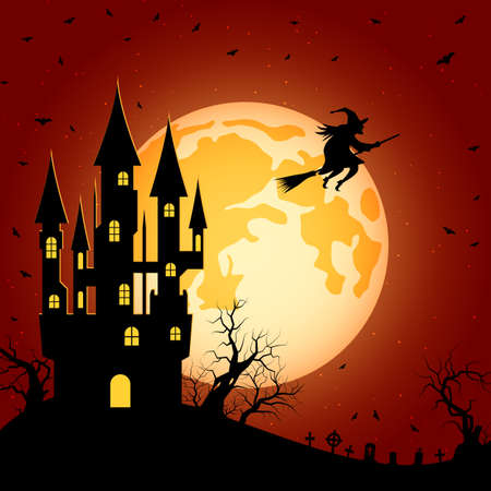 Halloween orange scary night vector background. Dead tree, old cemetery and bats illustration