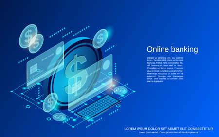 Online banking, money transfer, financial transaction flat 3d isometric vector concept illustration
