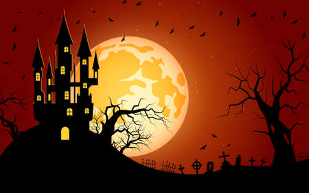 Halloween scary night vector background Ilustração Vetorial