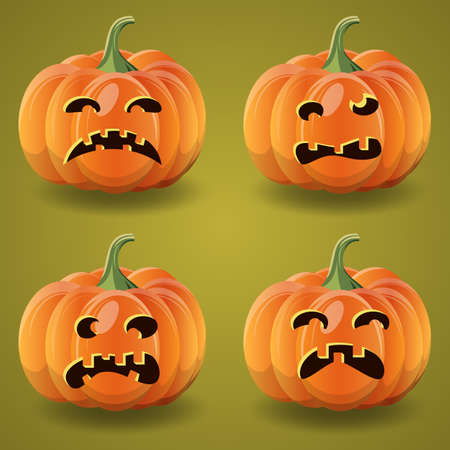 Halloween cartoon pumpkins vector collection
