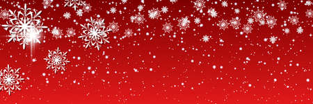 Christmas and New Year vector banner template. Red gradient vector background with stars and glitter effect Vektoros illusztráció