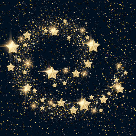 Christmas and New Year vector background with golden stars and snowflakes