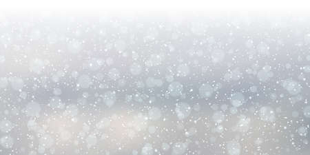 Christmas and New Year cloudy sky with snowfall vector background
