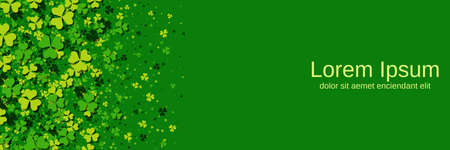 St.Patrick's Day green vector background with colorful clover leaves