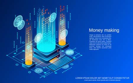 Money making flat 3d isometric vector concept illustration Vector Illustratie