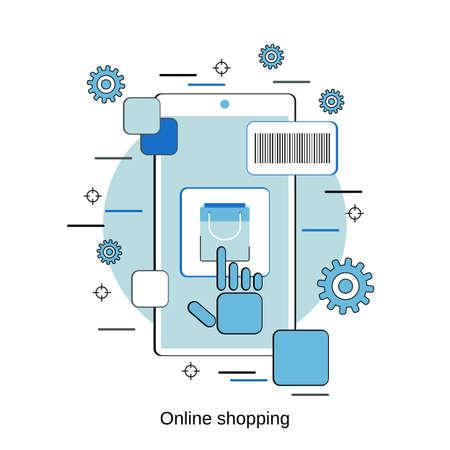 Online shopping, e-commerce, distant trade flat design style vector concept illustration Vettoriali