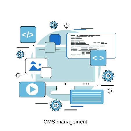 Content management system, web application development, website interface design flat design style vector concept illustration