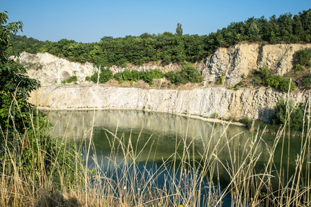 spillway: Beautiful quarry water in nature