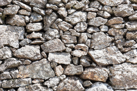 uncouth: detail outdoor stone wall in local stone Stock Photo
