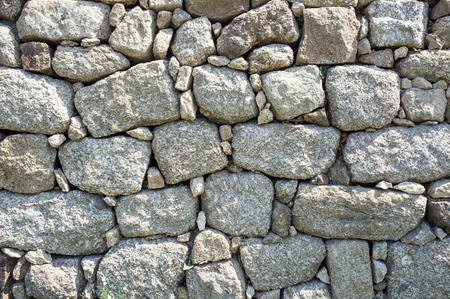 uncouth: detail outdoor stone wall in the local large stones Stock Photo