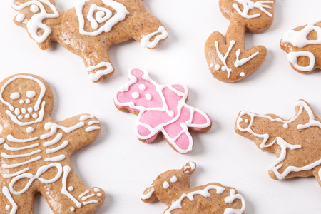 pink teddy bear: Christmas gingerbread cookies and a lone pink teddy bear