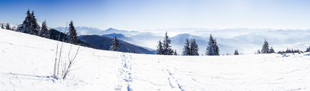 European Beautiful Winter Mountains, Alpine Mountains, Panoramic View Snow Capped Mountains, Slope For Skiers, Landscape For Cross Country Skiers, Winter Panorama Alps, Beautiful Winter Mountain Landscape
