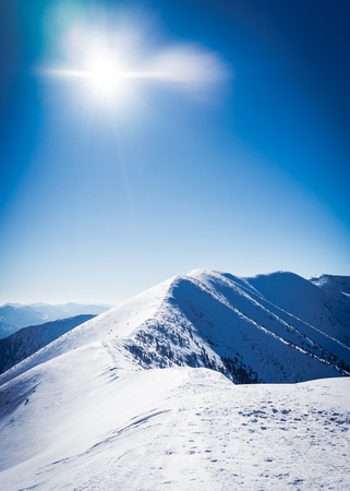 Ridge of mountains, Snowy mountains with sun, Beautiful european mountains, Symbol of winter mountains, Beautiful snowy landscape, Comb winter mountain, Alpine mountain peak, Mountains in winter