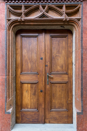 renovated old door, wooden doors, stone portal with doors