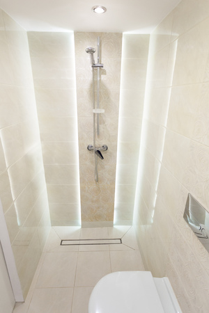 bathroom with shower and toilet, modern bathroom, bright interior, equipped bathroom in the house, a small and cozy bathroom, shower with LED light