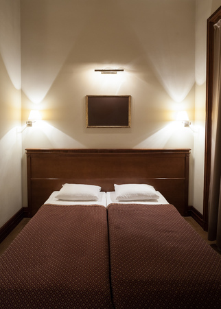 Bedroom Two Beds, Luxury Bedroom, Sleeping Suite, Hotel Room with Bed and Lights, Cozy Bedroom, Double Bed, Wooden Double Bed