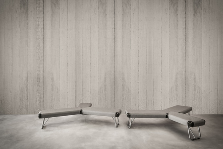 Modern concrete wall for the image with minimalist seat, Concrete wall with sitting, Modern interior furniture, Minimalist interior