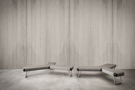 Minimalist interior, Modern concrete wall for the image with minimalist seat, Concrete wall with sitting, Modern interior furniture