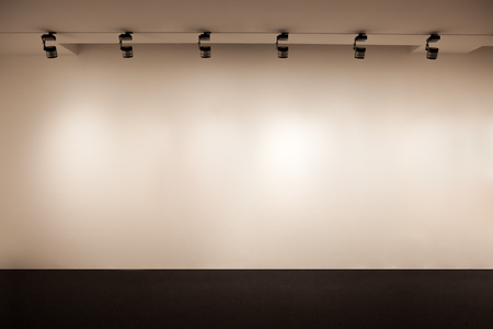 Beige wall with light, Empty gallery wall, Empty space for your advertising, Presentation white wall background
