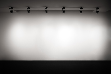 White empty gallery wall with light, Exhibition space, Interior exhibition wall