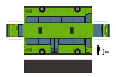 joggers: Paper model of a green bus, vector illustration