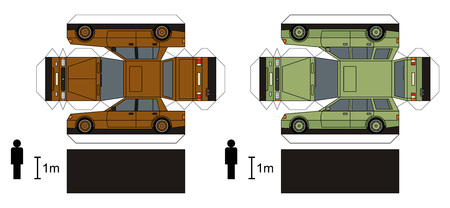 combi: Paper models of two cars, vector illustration