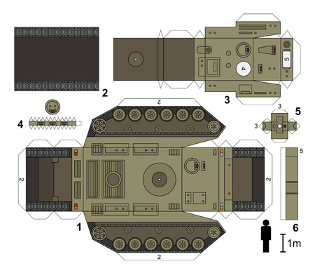 papercraft: Paper model of a heavy tank, vector illustration