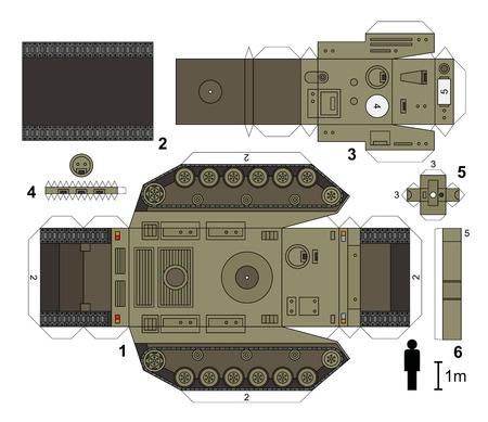 heavy: Paper model of a heavy tank, vector illustration
