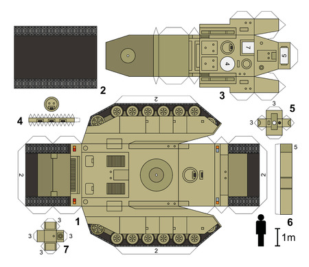 turret: Paper model of sand and heavy tank, vector illustration Illustration