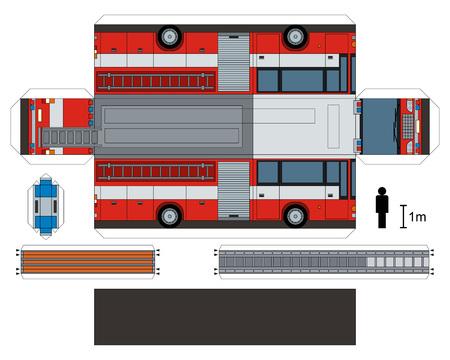Modelo de papel de un camión de bomberos