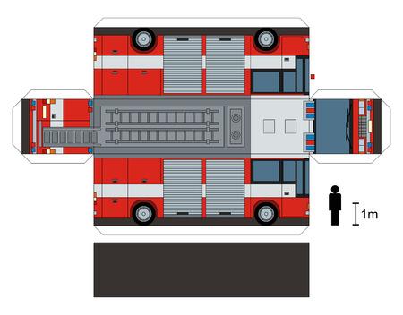 Modelo de papel de un camión de bomberos Ilustración de vector