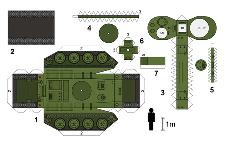 turret: Paper model of an old tank, vector illustration